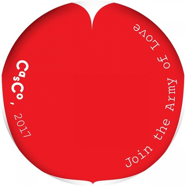 <p>Army of Love / Casco recruitment button, design by David Bennewith (colophon.info), original heart graphics by Hubertus Design</p>